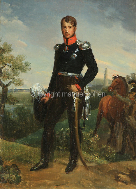 Portrait of Frederic-Guillaume III of Hohenzollern, 1770-1840, King of Prussia, in military uniform wearing medals including the black Prussian eagle, the iron cross, the order of Marie-Therese and the Austrian order of Saint-Georges, painted 1814 by Francois Gerard, 1770-1837 and studio, from the collection of the Chateau de Versailles et de Trianon, France. Picture by Manuel Cohen