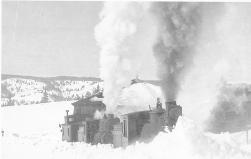 Engine with wedge plow bucking snow at Cumbres Station.  Also flanger, second engine, and caboose.<br /> D&amp;RGW  Cumbres, CO