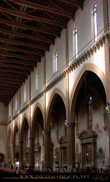 Nave Arcade and Timber Ceiling Santa Croce Florence