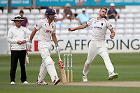 Oliver Hannon-Dalby in bowling action for Warwickshire during Essex CCC vs Warwickshire CCC, Specsavers County Championship Division 1 Cricket at The Cloudfm County Ground on 14th July 2019
