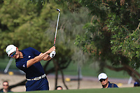 Haotong Li (CHN) on the 3rd during Round 3 of the Omega Dubai Desert Classic, Emirates Golf Club, Dubai,  United Arab Emirates. 26/01/2019<br /> Picture: Golffile | Thos Caffrey<br /> <br /> <br /> All photo usage must carry mandatory copyright credit (© Golffile | Thos Caffrey)