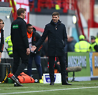 24th November 2019; New Douglas Park, Hamilton, South Lanarkshire, Scotland; Scottish Premiership Football, Hamilton Academical versus Rangers; Rangers Manager Steven Gerrard gestures to the 4th official after their penalty claims are waved away - Editorial Use
