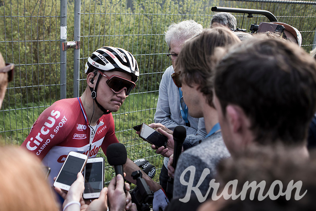 Mathieu Van der Poel (NED/Corendon Circus) post race interview after finishing 4th place<br /> <br /> 103rd Ronde van Vlaanderen 2019<br /> One day race from Antwerp to Oudenaarde (BEL/270km)<br /> <br /> ©kramon