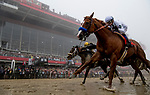 BALTIMORE, MD - MAY 19: Justify, #7, ridden by jockey Mike Smith, wins the Preakness Stakes at Pimlico Race Course on May 19, 2018 in Baltimore, Maryland (Photo by Alex Evers/Eclipse Sportswire/Getty Images)
