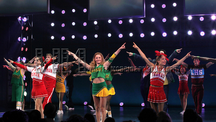 Janet Krupin, Tayor Louderman, Elle McLemore.& Ensemble Cast during the Broadway Opening Night Performance Curtain Call for  'Bring it On The Musical' at the St. James Theatre in New York City on 8/1/2012