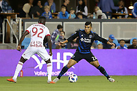 San Jose, CA - Saturday October 06, 2018: Nick Lima, Kemar Lawrence during a Major League Soccer (MLS) match between the San Jose Earthquakes and the New York Red Bulls at Avaya Stadium.