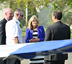 PEMBROKE PINES, FL - NOVEMBER 18: Russell McCaffery, Flight instructor Brian Gascoine, Dr. Jill Biden, wife of U.S. Vice President Joe Biden and  Secretary of Labor Thomas Perez visits Broward College Aviation Institute and addresses a group of educators to discuss the recent selection of Broward College to lead a $24.5 million grant to twelve schools in seven states focused on training workers for careers in supply chain management on November 18, 2013 in Pembroke Pines, Florida. (Photo by Johnny Louis/jlnphotography.com)