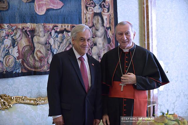 Chile's President Sebastian Pinera meets Cardinal Parolinduring a private audience at the Vatican October 13, 2018.