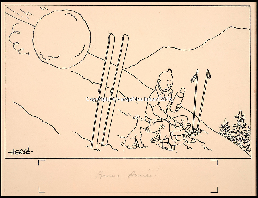 BNPS.co.uk (01202 558833)<br /> Pic: HergeMoulinsart2016/BNPS<br /> <br /> ***Please use full byline***<br /> <br /> A historic collection of 20 original Tintin ink drawings are on sale for an astonishing £2.1 million.<br /> <br /> The drawings, produced by the Belgian cartoonist George Remi, known as Hergé, were ordered by a publisher to be used for seasonal greetings cards between 1942-1943.<br /> <br /> The cards are considered to be the first marketing product of The Adventures of Tintin to reach the public.