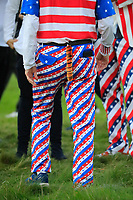 Spectator with tail during the Friday Fourballs at the Ryder Cup, Le Golf National, Paris, France. 27/09/2018.<br /> Picture Phil Inglis / Golffile.ie<br /> <br /> All photo usage must carry mandatory copyright credit (© Golffile | Phil Inglis)