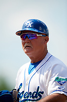Lexington Legends bench coach Glenn Hubbard (17) during a game against the Rome Braves on May 23, 2018 at Whitaker Bank Ballpark in Lexington, Kentucky.  Rome defeated Lexington 4-1.  (Mike Janes/Four Seam Images)