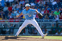 North Carolina Tar Heels pitcher Mason McCullough #32 pitches during Game 3 of the 2013 Men's College World Series between the North Carolina State Wolfpack and North Carolina Tar Heels at TD Ameritrade Park on June 16, 2013 in Omaha, Nebraska. The Wolfpack defeated the Tar Heels 8-1. (Brace Hemmelgarn/Four Seam Images)