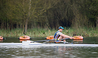 Caversham. Berkshire. UK<br /> Men's singelsculls, Jon SIMPSON, sculling during the  2016 GBRowing U23 Trials at the GBRowing Training base near Reading, Berkshire.<br /> <br /> Monday  11/04/2016 <br /> <br /> [Mandatory Credit; Peter SPURRIER/Intersport-images]