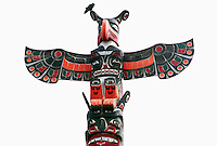 'Namgis Memorial Totem Pole, on Namgis Burial Grounds, Alert Bay, Cormorant Island, BC, British Columbia, Canada - Thunderbird sits atop Pole
