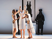 Dress rehearsal of the world premiere of Gravity Fatigue created by fashion designer and artist Hussein Chalayan for Sadler's Wells Theatre. Running from 28 to 31 October 2015 with 13 dancers (Aimilios Arapoglou, Amy Bell, Navala Niku Chaudhari, Aliashka Hilsum, Edouard Hue, Lisa Kasman, Stephanie McMann, Erik Nevin, Inpang Ooi, Mickael Marso Riviere, Louise Tanoto, Majon van der Schot and Jack Webb). Photo credit: Bettina Strenske