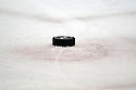Dec 23, 2008; Uniondale, NY, USA; Puck lying on the ice of the Nassau Coliseum during game between Atlanta Thrashers and the New York Islanders. Thrashers won 4-2. Mandatory Credit: Tomasso DeRosa/SportPics