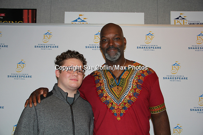 Opening Night of Ken Ludwig's The Three Musketeers, an epic adventure at Pennsylvania Shakespeare Festival on July 14, 2017 starring Esau Pritchett who poses with Kameron Maxwell. (Photos by Sue Coflin/Max Photos)