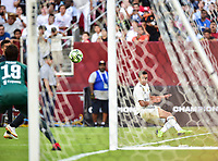 Landover, MD - August 4, 2018: Real Madrid midfielder Franchu Feuillassier (29) with a shot on goal during the match between Juventus and Real Madrid at FedEx Field in Landover, MD. (Photo by Phillip Peters/Media Images International)