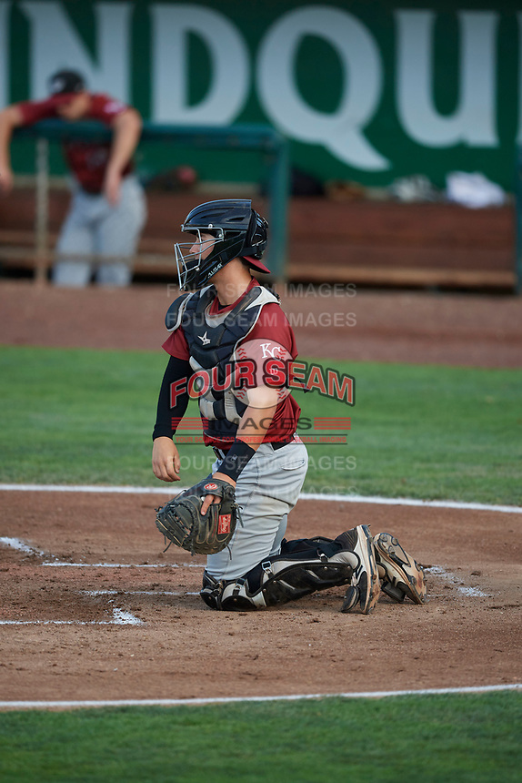 Chris Hudgins (52) of the Idaho Falls Chukars on defense against the Ogden Raptors at Lindquist Field on August 28, 2017 in Ogden, Utah. Ogden defeated Idaho Falls 7-1. (Stephen Smith/Four Seam Images)