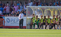 Cheltenham manager Gary Johnson (far left) during the Sky Bet League 2 match between Cheltenham Town and Leyton Orient at the LCI Rail Stadium, Cheltenham, England on 6 August 2016. Photo by Mark  Hawkins / PRiME Media Images.