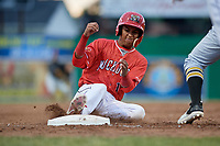 Batavia Muckdogs second baseman Gerardo Nunez (1) slides into third base during a game against the West Virginia Black Bears on June 19, 2018 at Dwyer Stadium in Batavia, New York.  West Virginia defeated Batavia 7-6.  (Mike Janes/Four Seam Images)