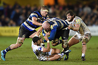 Matt Garvey of Bath Rugby takes on the Exeter Chiefs defence. Aviva Premiership match, between Bath Rugby and Exeter Chiefs on March 23, 2018 at the Recreation Ground in Bath, England. Photo by: Patrick Khachfe / Onside Images
