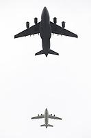 C-17 Globemaster, BAE 146<br /> RAF centenary fly-past at Buckingham Palace, The Mall, London England on July 10, 2018.<br /> CAP/PL<br /> &copy;Phil Loftus/Capital Pictures