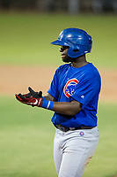 AZL Cubs third baseman Delvin Zinn (21) celebrates after an RBI-single in the fifth inning against the AZL Giants on September 7, 2017 at Scottsdale Stadium in Scottsdale, Arizona. AZL Cubs defeated the AZL Giants 13-3 to win the Arizona League Championship Series two games to one. (Zachary Lucy/Four Seam Images)