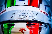 11th July 2020; Styria, Austria; FIA Formula One World Championship 2020, Grand Prix of Styria qualifying sessions;  Helmet details, rain visor