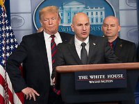 United States President Donald J. Trump listens to Brandon Judd, President, National Border Patrol Council speak about border security in the White House briefing room in Washington, DC, January 3, 2019. Credit: Chris Kleponis /CNP /MediaPunch<br /> CAP/MPI/RS<br /> &copy;RS/MPI/Capital Pictures