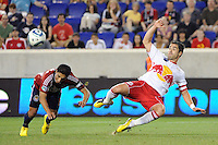 Juan Pablo Angel (9) takes a shot, but would be called for offsides. The New York Red Bulls defeated Chivas USA 1-0 during a Major League Soccer (MLS) match at Red Bull Arena in Harrison, NJ, on June 5, 2010.