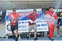 8-10 August 2008  Algonac, MI USA.F2 Podium (L to R): Donnie Lick (2nd), Shaun Torrente (1st) and Mark Profitt (3rd) spray the champange..©F.Peirce Williams 2008