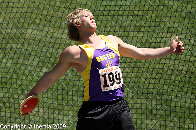 SPEARFISH, SD - May 29: Tyler Schultz of Custer throws the discus Friday at the Class A State Track Meet in Spearfish. (Photo by Dave Eggen/Inertia)