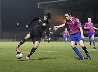 Bahrudin Atajic controlling the ball withSean Kelly in proximity in the St Mirren v Celtic Clydesdale Bank Scottish Premier League U20 match played at St Mirren Park, Paisley on 18.12.12.