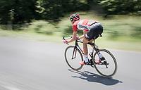 Jelle Vanendert (BEL/Lotto-Soudal) speeding back into the peloton<br /> <br /> Stage 6: Le parc des oiseaux/Villars-Les-Dombes &rsaquo; La Motte-Servolex (147km)<br /> 69th Crit&eacute;rium du Dauphin&eacute; 2017