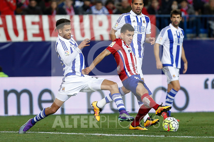 Atletico de Madrid´s Correa and Real Sociedad´s Diego Reyes during 2015-16 La Liga match between Atletico de Madrid and Real Sociedad at Vicente Calderon stadium in Madrid, Spain. March 01, 2016. (ALTERPHOTOS/Victor Blanco)
