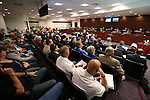 Hundreds of people packed hearing rooms at the Legislative Building in Carson City, Nev., on Tuesday, March 3, 2015 to hear about a proposal to change the public employee retirement system. Teacher, firefighter and police groups oppose the measure which would change the defined benefit plan to a hybrid system for new public employee hires. <br /> Photo by Cathleen Allison