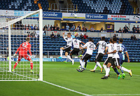 Max Muller of Wycombe Wanderers wins the header during the Carabao Cup match between Wycombe Wanderers and Fulham at Adams Park, High Wycombe, England on 8 August 2017. Photo by Alan  Stanford / PRiME Media Images.