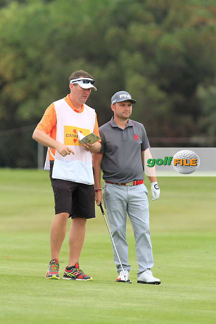 Andy Sullivan (ENG) on the 18th fairway during Round 1 of the Open de Espana  in Club de Golf el Prat, Barcelona on Thursday 14th May 2015.<br /> Picture:  Thos Caffrey / www.golffile.ie