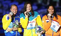 100 freestyle women<br /> SJOSTROM Sarah, Sweden SWE, silver medal<br /> CAMPBELL Cate, Australia AUS, gold medal<br /> KROMOWIDJOJO Ranomi, Netherlands NED, bronze medal <br /> Swimming - Nuoto <br /> Barcellona 02/8/2013 Palau St Jordi <br /> Barcelona 2013 15 Fina World Championships Aquatics <br /> Foto Andrea Staccioli Insidefoto