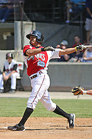 Sean Henry #12 of the Carolina Mudcats at bat during a game against the West Tenn Diamond Jaxx on May 30, 2010 in Zebulon, NC.