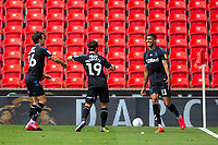 27th June 2020; Bet365 Stadium, Stoke, Staffordshire, England; English Championship Football, Stoke City versus Middlesbrough; Ashley Fletcher of Middlesbrough celebrates his 29th minute goal