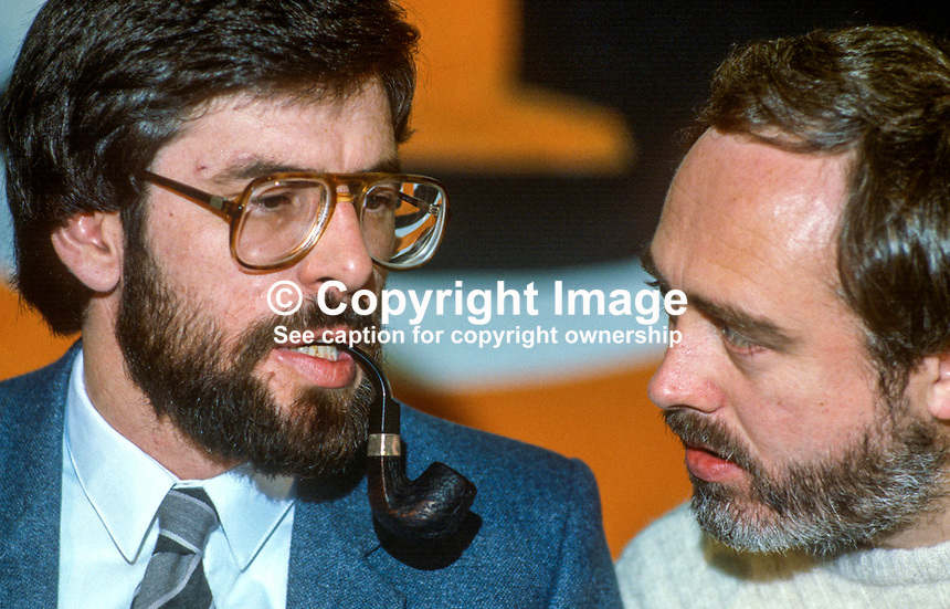 Gerry Adams, president, Provisional Sinn Fein, left, talking with Danny Morrison, prominent member, at the party's annual conference, ard fheis,1984. 19840130GA3..Copyright Image from Victor Patterson, 54 Dorchester Park, Belfast, UK, BT9 6RJ..Tel: +44 28 9066 1296.Mob: +44 7802 353836.Voicemail +44 20 8816 7153.Skype: victorpattersonbelfast.Email: victorpatterson@me.com.Email: victorpatterson@ireland.com (back-up)..IMPORTANT: If you wish to use this image or any other of my images please go to www.victorpatterson.com and click on the Terms & Conditions. Then contact me by email or phone with the reference number(s) of the image(s) concerned.
