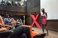"""Myralyn (Mimi) Nartey, an adjunct faculty member in urban and environmental policy, talks about """"African Women's Soccer and Empowerment: Memoirs of a Black Queen.""""<br /> Occidental College's second TEDx event, Choi Auditorium, April 2, 2016. Featuring talks on sustainability and global development by speakers that included five students, a faculty member and seven external speakers.<br /> (Photo by Marc Campos, Occidental College Photographer)"""