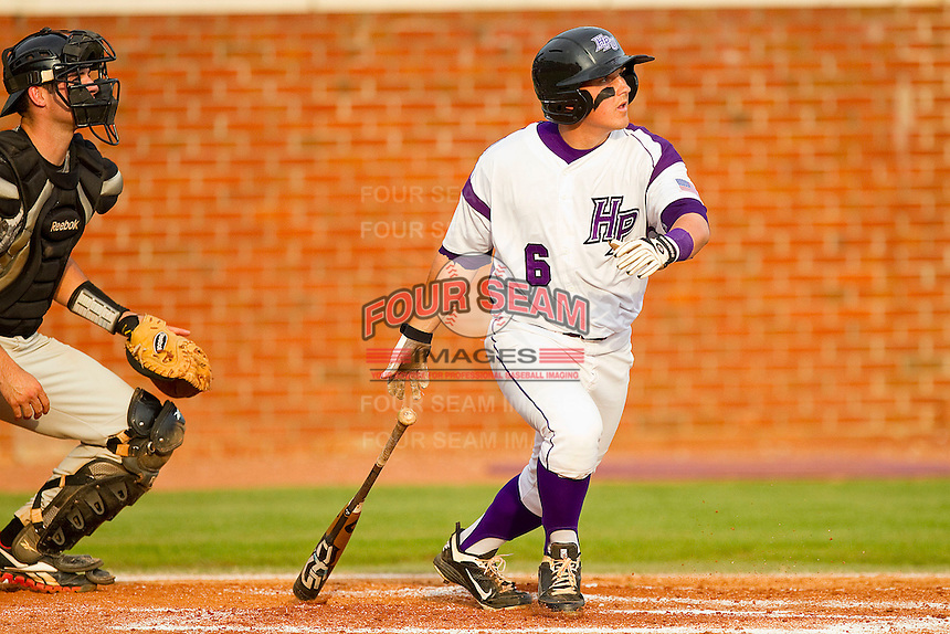 Devin Bujnovsky #6 of the High Point Panthers follows through on his swing against the VMI Keydets at Willard Stadium on March 30, 2012 in High Point, North Carolina.  The Panthers defeated the Keydets 11-3.  (Brian Westerholt/Four Seam Images)