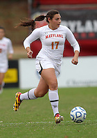 COLLEGE PARK, MD - OCTOBER 28, 2012:  Gabby Galanti (17) of the University of Maryland against  Miami during an ACC  women's tournament 1st. round match at Ludwig Field in College Park, MD. on October 28. Maryland won 2-1 on a golden goal in extra time.