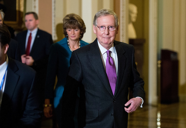UNITED STATES - JANUARY 29: Senate Majority Leader Mitch McConnell, R-Ky., and Sen. Lisa Murkowski, R-AK, arrive to speak with reporters following the cloture vote on the Keystone pipeline on Thursday, Jan. 29, 2015. (Photo By Bill Clark/CQ Roll Call)