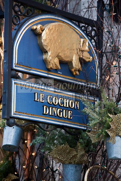 Amérique/Amérique du Nord/Canada/Québec/ Québec: Rue Petit-Champlain dans le Quartier Petit-Champlain, Enseigne d'un restaurant