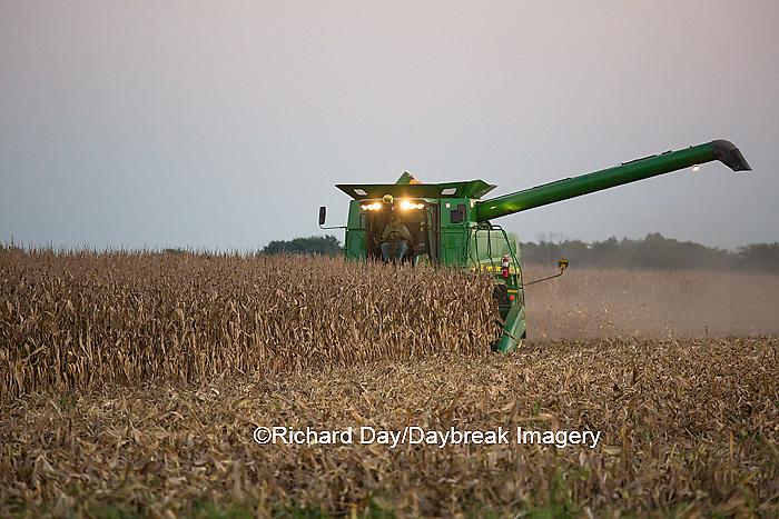 63801-07006 Farmer harvesting corn, Marion Co., IL