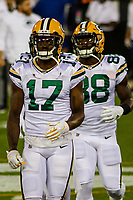 Green Bay Packers wide receiver Davante Adams (17) and running back Ty Montgomery (88) during a National Football League game against the Chicago Bears on September 28, 2017 at Lambeau Field in Green Bay, Wisconsin. Green Bay defeated Chicago 35-14. (Brad Krause/Krause Sports Photography)